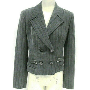 ALBERTO MAKALI Gray Wool Herringbone Jacket Sz 4